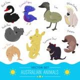 Satz der australischen Tierikone der netten Karikatur Lizenzfreie Stockfotografie