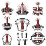 Satz der Ausweise mit Leuchttürmen Gestaltungselemente für Logo, Lizenzfreies Stockbild