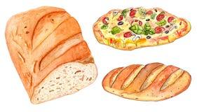 Satz der Bäckerei: Brotlaib und Pizza Stockfotografie