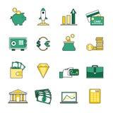 Satz der Bankwesen- und Geldumtauschlinie Ikonen Stockfotografie