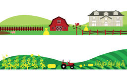 Satz der Bauernhof-Landschaft und der Landwirtschafts-Landschaft Lizenzfreies Stockbild