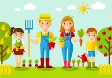 Satz der Bildgärtnerfamilie, -gartens, -mühle und -landschaft mit Gartenarbeitkonzept Stockbild