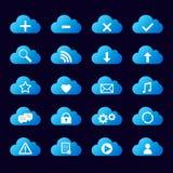 Satz der blauen Ikonenwolke Lizenzfreie Stockbilder
