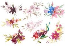 Satz der Blumengestecke Rosa Rosen und Pfingstrosen mit grünen Blättern Romantische Gartenblumen des Aquarells Blume Lizenzfreies Stockbild