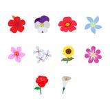 Satz der Blumenikone, Illustration Lizenzfreie Stockfotos