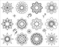 Satz der Blumenmonolinie Ikonen Dünne Linie Mischungsgestaltungselementsammlung Nette kleine Blumen Einfacher Satz von Blumen Stockfotografie