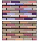 Satz der bunten Backsteinmauer masert Sammlungshintergrundmuster Stockbild