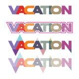 Satz der bunten flachen Illustration für Wort Ferien vektor abbildung