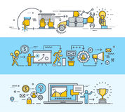 Satz der dünnen Linie flache Konzept- des Entwurfesfahnen für Geschäft und Marketing vektor abbildung