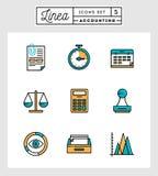 Satz der dünnen Linie Ikonen des flachen Designs der Buchhaltungselemente Lizenzfreies Stockbild