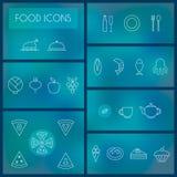 Satz der dünnen Linie Ikonen des Lebensmittels für Netz und Mobile Stockfotografie