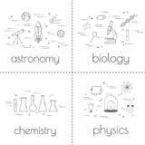 Satz der dünnen Linie Ikonen Pädagogisches und Wissenschaftskonzept Lokalisierung auf einem weißen Hintergrund Lizenzfreie Stockbilder