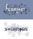 Satz der dünnen Linie Wortfahnen des Kontaktes und der Lösungen Stockfoto