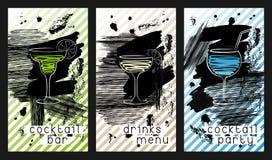 Satz der Designschablone für Cocktailbarvisitenkarten vektor abbildung