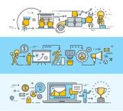 Satz der dünnen Linie flache Konzept- des Entwurfesfahnen für Geschäft und Marketing Stockfotos