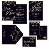Satz der dunkelblauen Hochzeits-Einladungs-Karte mit Gold verlässt Dekoration Lizenzfreie Stockfotos