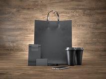 Satz der Einkaufstasche, zwei Kaffeetassen, schwarz Stockbild