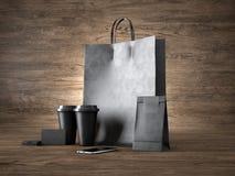 Satz der Einkaufstasche, zwei Kaffeetassen, schwarz Lizenzfreie Stockfotografie
