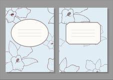 Satz der Einladungskarte mit Orchideenhintergrund Stockbild