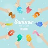 Satz der Eiscremezahl mit der Hand oben auf Sommerkonzept Stockfoto