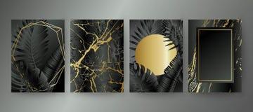 Satz der eleganten Broschüre, Karte, Hintergrund, Abdeckung Schwarze und goldene Marmorbeschaffenheit Palme, exotische Blätter lizenzfreie abbildung