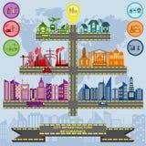 Satz der Elementinfrastrukturstadt, Vektor infographics lizenzfreie abbildung