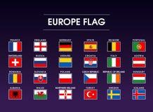 Satz der Europa-Flaggenikone Lizenzfreies Stockfoto