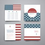 Satz der Fahnenschablone des modernen Designs in Art Präsidenten Day lizenzfreie abbildung