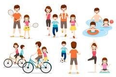 Satz der Familie mit verschiedenen Übungs-und Sport-Tätigkeiten Stockfoto