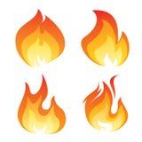 Satz der Farbflammenikone Stockbilder