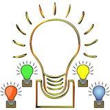 Satz der farbigen glühenden Lampe Stockbild