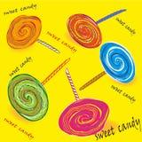 Satz der farbigen süßen Süßigkeit auf einem Stock Lizenzfreies Stockfoto