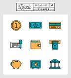 Satz der flachen Designlinie Ikonen der Finanzelemente Lizenzfreies Stockfoto
