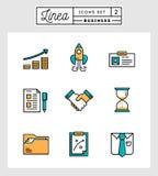 Satz der flachen Designlinie Ikonen der Geschäftselemente Lizenzfreie Stockfotos