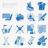 Satz der flachen Designsportikone mit lokalisiertem blauem Schattenbild Stockfotos