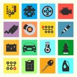Satz der flachen Ikone des Service-Autos auf weißem Hintergrund Lizenzfreie Stockbilder