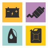 Satz der flachen Ikone des Service-Autos auf weißem Hintergrund Vektor Lizenzfreies Stockfoto