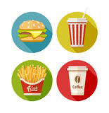 Satz der flachen Ikone mit Hamburger brät Soda und Kaffee in der Papierschale Lizenzfreie Stockfotografie