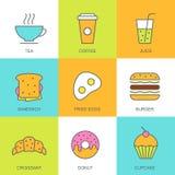 Satz der flachen Lebensmittelillustration des Vektors Frühstücksmehrfarbenikonen Lizenzfreies Stockfoto
