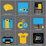 Satz der flachen Linie Design-Ikonen für die Zeichen-Herstellung Lizenzfreies Stockfoto