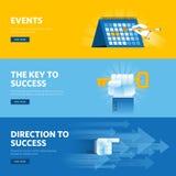 Satz der flachen Linie Designnetzfahnen für Geschäftserfolg, Strategie, Organisation, Nachrichten und Ereignisse Lizenzfreies Stockfoto