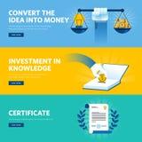 Satz der flachen Linie Designnetzfahnen für Investition im Wissen vektor abbildung