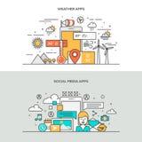 Satz der flachen Linie Farbfahnen-Konzepte des Entwurfes Lizenzfreie Stockfotografie