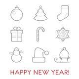 Satz der flachen Linie Ikonen des neuen Jahres Ball, Baum, Socke, Süßigkeit, snowfl Lizenzfreies Stockfoto