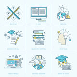 Satz der flachen Linie Ikonen für on-line-Bildung Stockfotografie