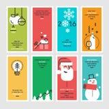 Satz der flachen Linie Konzepte des Entwurfes für neues Jahr und Weihnachten stock abbildung