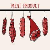 Satz der Fleischware Nahrung Hand gezeichnet Speck, Wurst Lizenzfreies Stockbild