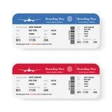 Satz der Fluglinienbordkartekarten mit Schatten Getrennt auf weißem Hintergrund Auch im corel abgehobenen Betrag Lizenzfreies Stockfoto