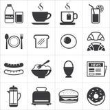 Satz der Frühstücksikone Stockbilder