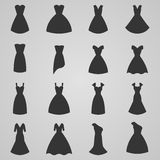 Satz der Frauenkleiderikone, Illustration Stockfoto
